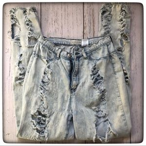Heavily distressed high waisted skinny jeans